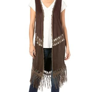 Miss Me Brown Fringe Vest